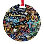 Abstract-Believe 1 Round Ornament