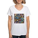 Abstract-Believe 1 Women's V-Neck T-Shirt