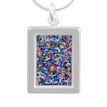 Star Swirl Silver Portrait Necklace
