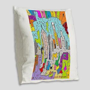Rectangle City of Dreams Burlap Throw Pillow