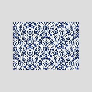 Blue Casbah Damask 5'x7'Area Rug