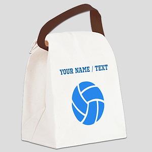 Custom Blue Volleyball Canvas Lunch Bag
