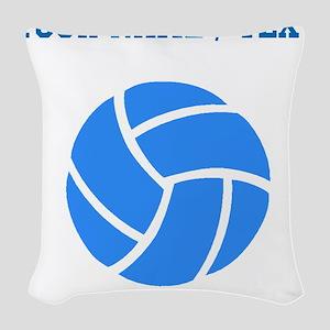 Custom Blue Volleyball Woven Throw Pillow