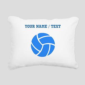 Custom Blue Volleyball Rectangular Canvas Pillow