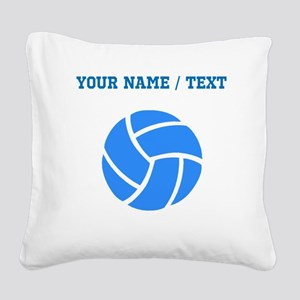 Custom Blue Volleyball Square Canvas Pillow