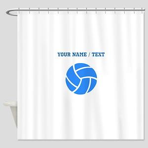 Custom Blue Volleyball Shower Curtain
