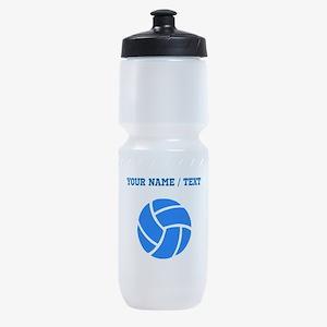 Custom Blue Volleyball Sports Bottle