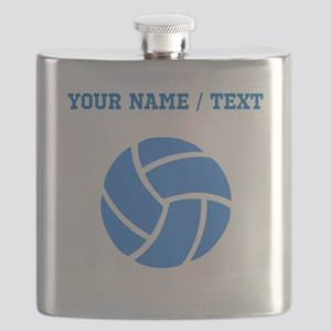 Custom Blue Volleyball Flask