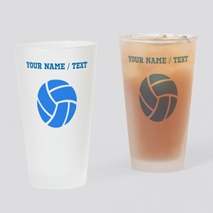 Custom Blue Volleyball Drinking Glass