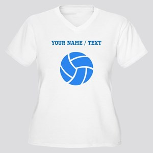 Custom Blue Volleyball Plus Size T-Shirt