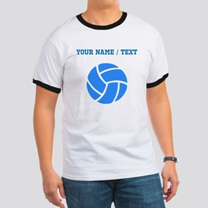 Custom Blue Volleyball T-Shirt