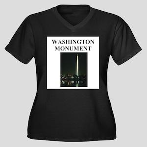 washington monumont Women's Plus Size V-Neck Dark