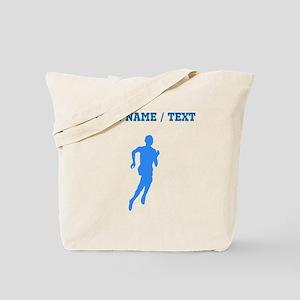 Custom Blue Runner Silhouette Tote Bag
