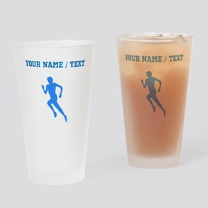 Custom Blue Runner Silhouette Drinking Glass