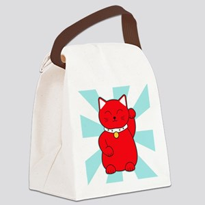 Red Lucky Cat Canvas Lunch Bag