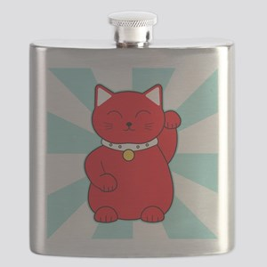 Red Lucky Cat Flask