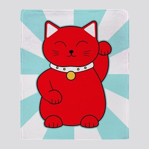 Red Lucky Cat Throw Blanket