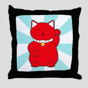 Red Lucky Cat Throw Pillow