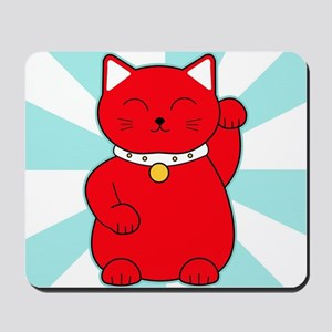 Red Lucky Cat Mousepad