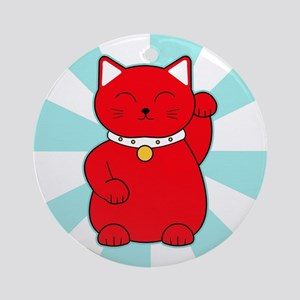 Red Lucky Cat Ornament (Round)
