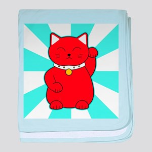 Red Lucky Cat baby blanket