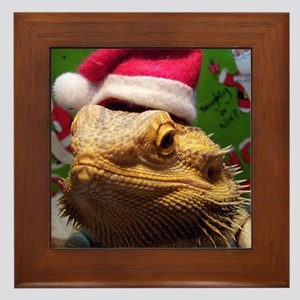 Beardie Santa Hat Framed Tile
