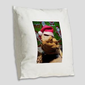 Beardie Santa Hat Burlap Throw Pillow