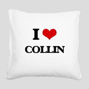I Love Collin Square Canvas Pillow