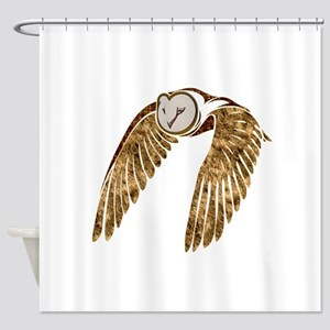 Flying Barn Owl Collage Shower Curtain