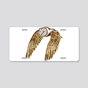 Flying Barn Owl Collage Aluminum License Plate
