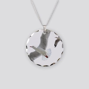 3 Gulls in Flight copy Necklace Circle Charm