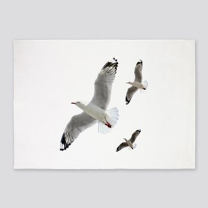 3 Gulls in Flight copy 5'x7'Area Rug