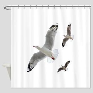 3 Gulls in Flight copy Shower Curtain