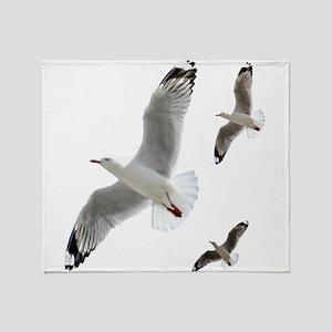 3 Gulls in Flight copy Throw Blanket