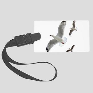 3 Gulls in Flight copy Large Luggage Tag