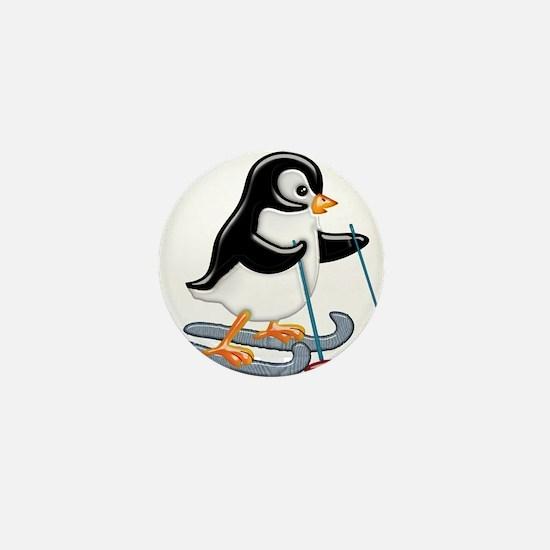 Penguin on Skis Mini Button