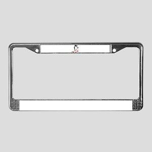 Penguin Hockey Player License Plate Frame