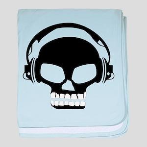 Dj Dubstep Skull Headphones Dead Musi baby blanket