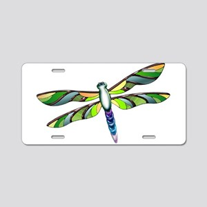 Citrus Colored Dragonfly Aluminum License Plate