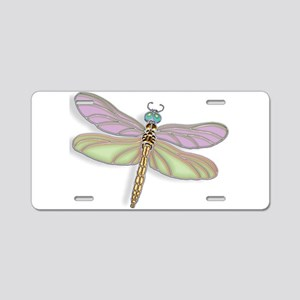 Lavender and Green Dragonfl Aluminum License Plate