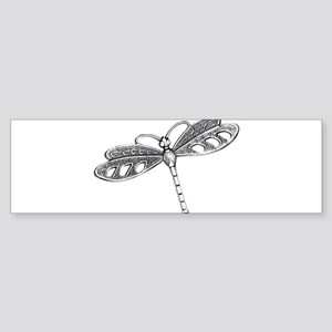Metallic Silver Dragonfly Bumper Sticker