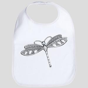 Metallic Silver Dragonfly Bib