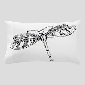 Metallic Silver Dragonfly Pillow Case