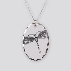 Metallic Silver Dragonfly Necklace Oval Charm