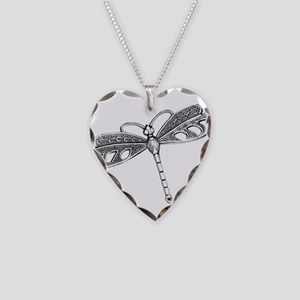 Metallic Silver Dragonfly Necklace Heart Charm