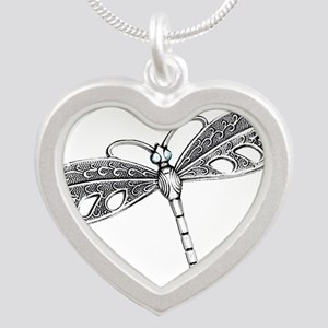 Metallic Silver Dragonfly Necklaces