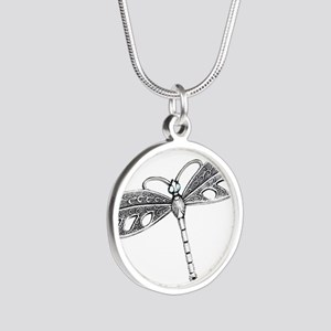 Metallic Silver Dragonfly Necklaces