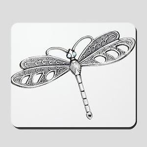 Metallic Silver Dragonfly Mousepad