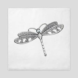 Metallic Silver Dragonfly Queen Duvet