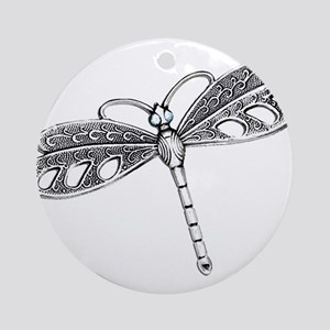 Metallic Silver Dragonfly Ornament (Round)